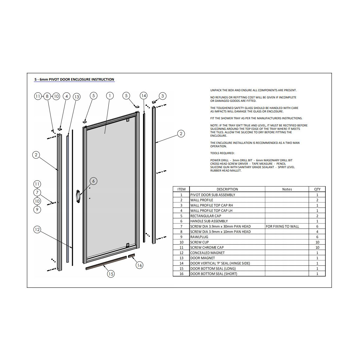 Premier Bathrooms Ella 760mm Pivot Door Erpd76 Spare Parts